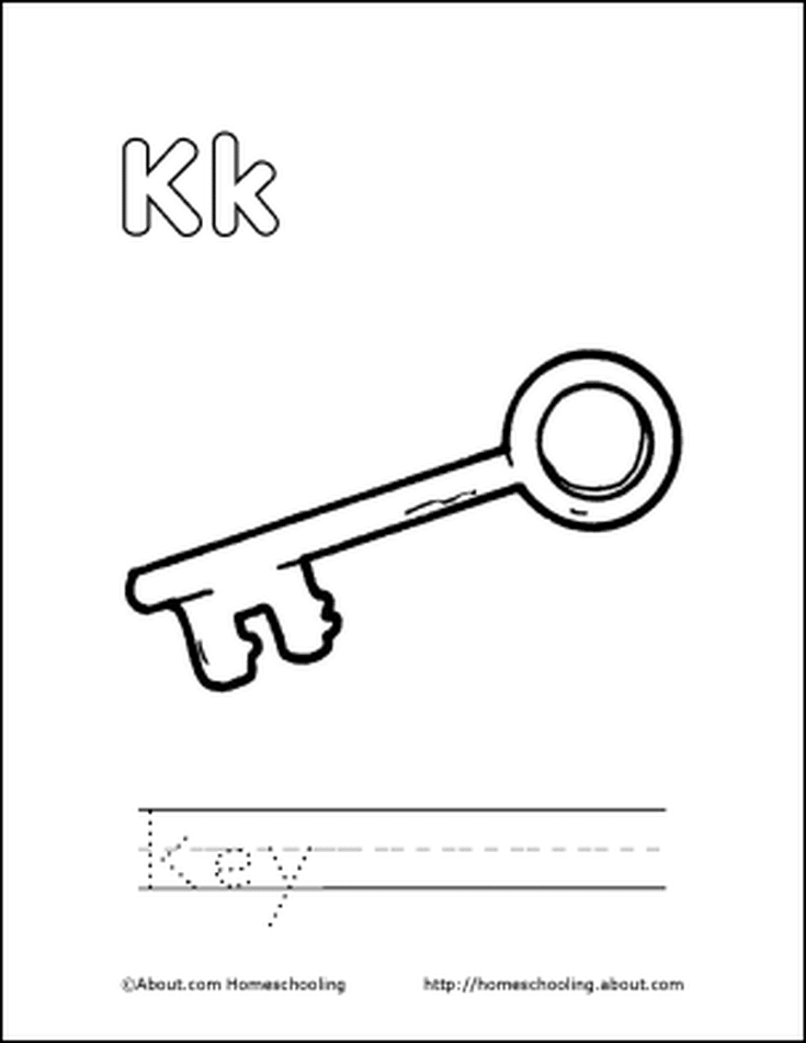 Letter q coloring book free printable pages pinterest coloring letter k coloring book free printable pages key coloring page spiritdancerdesigns Image collections
