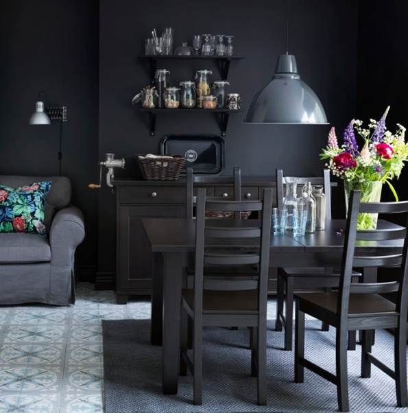 Complete a dark and rustic look with our storn s extendable dining table for the home - Ikea rustic dining table ...