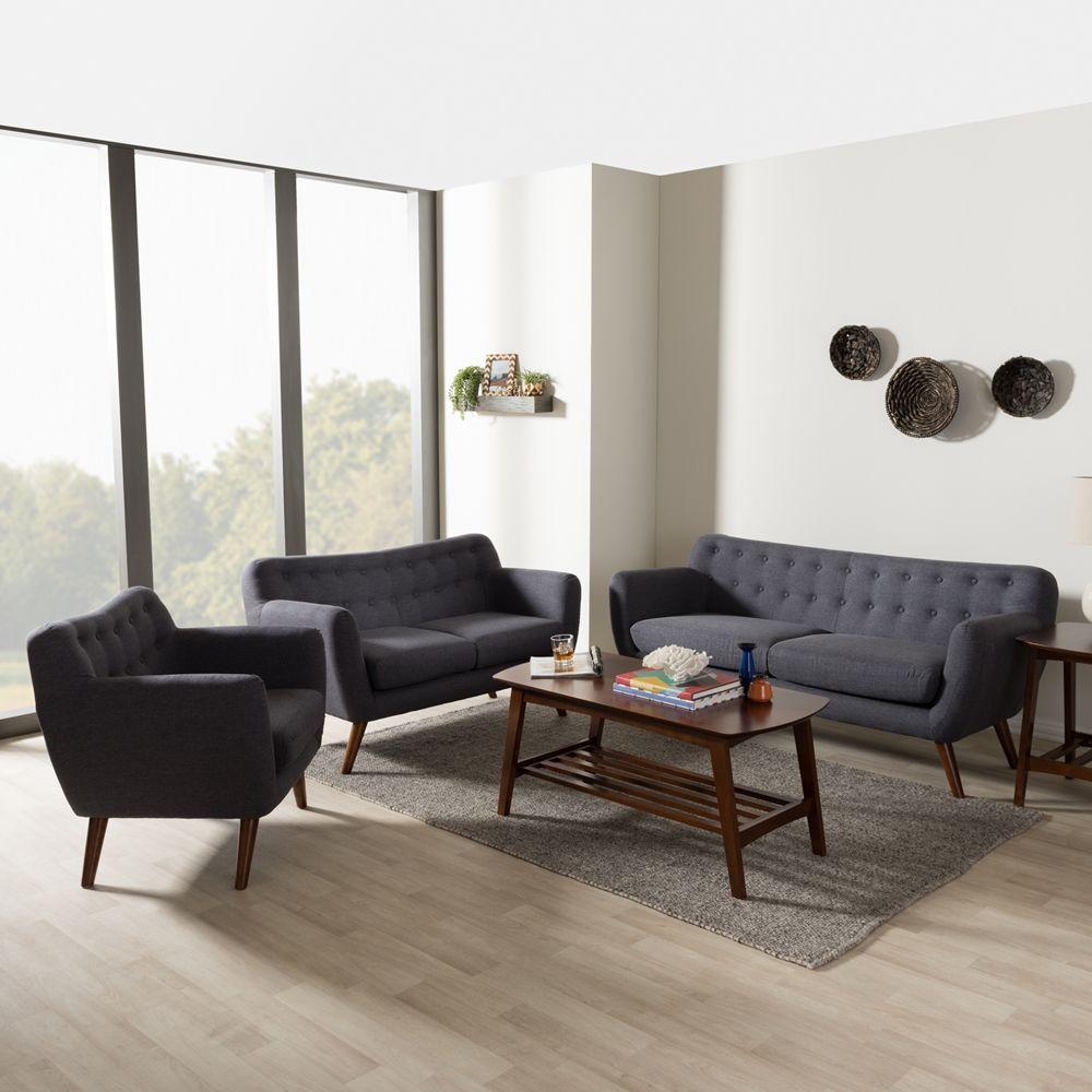 Baxton Studio Harper Mid Century Modern Dark Grey Fabric Upholstered