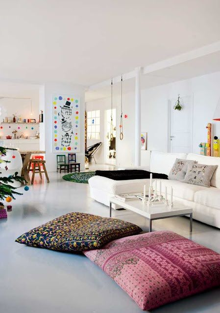 Another lovely example of floor cushions worked into a living room. (theyallhateus.com via Pinterest)