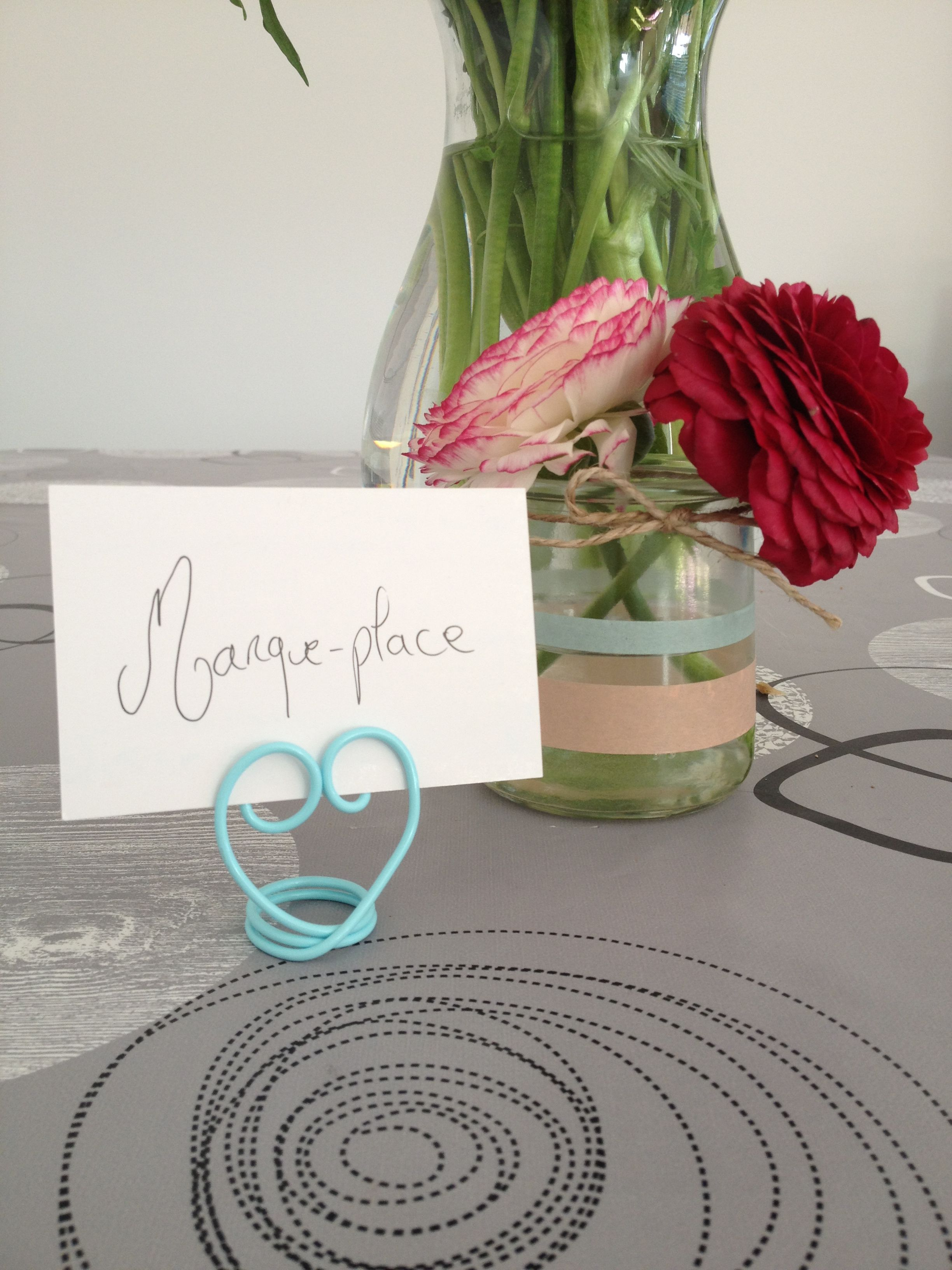 petit marque place r alis avec du fil d 39 aluminium bleu pastel 2 mm. Black Bedroom Furniture Sets. Home Design Ideas