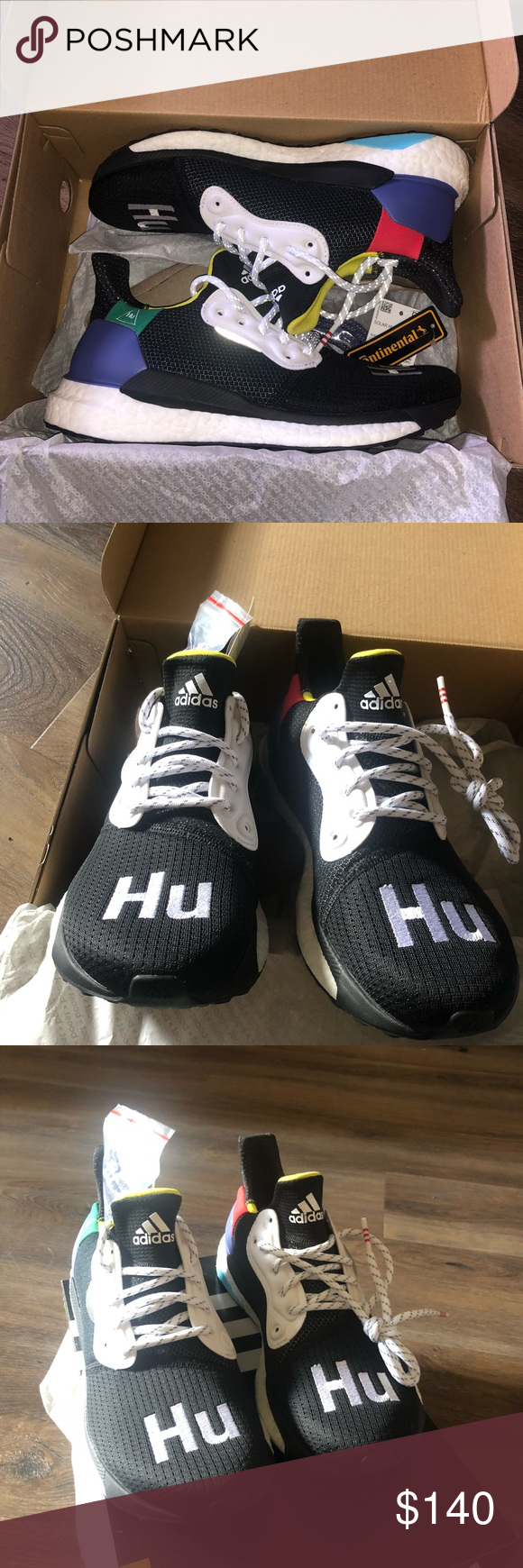 4eeb0a779 Adidas Solar Hu Glide size 6.5 woman s NWT Dead stock! Brand new. Awesome  human race solar glide boost in black color way