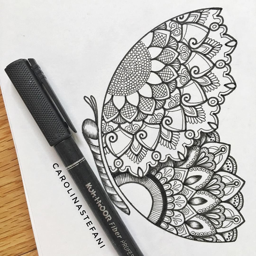 Carolina Stefani On Instagram Butterfly Mandala Super Easy To Make Just With Three Semicircles Do Doodle Art Designs Butterfly Mandala Mandala Art Lesson