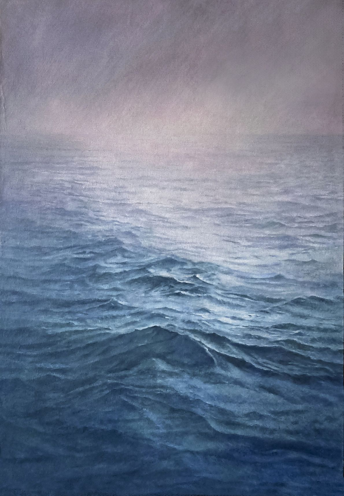 Sea at sunset. 110x90cm. Oil on canvas glued to panel.