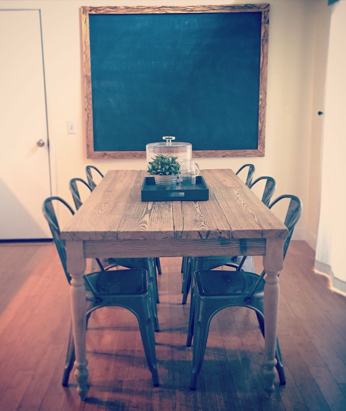 Farmhouse dining table with industrial french bistro