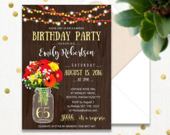 Surprise Birthday Invitations Printable Adult 65th Party Invite Rustic Mason Jar Gerbera Daisy INSTANT