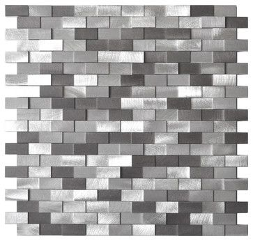 Raised Brick Pattern Aluminum Mosaic Tile Gray Blends Sample Contemporary Kitchen