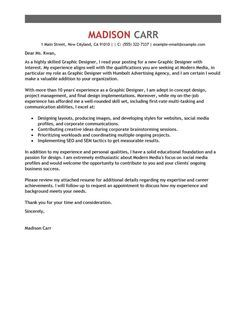 Graphic Designer Example  Emphasis  Design  Cover Letters