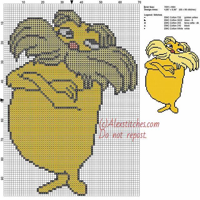 Lorax (Dr. Seuss) free cross stitch pattern 70x99 5 colors | DISNEY ...