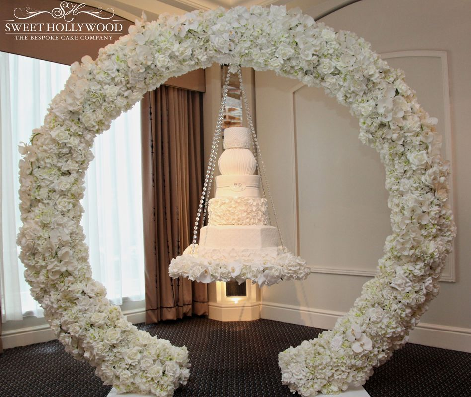 Halo Hanging Wedding Cake With Each Tier A Different Shape