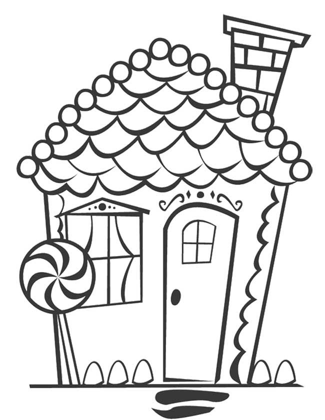 Cookie Gingerbread House Coloring Page