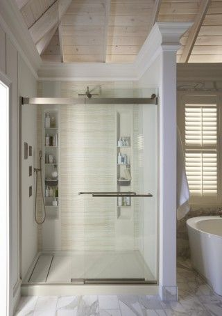 Sun-Bleached Bathroom | Shower wall kits, Shower base and Storage ...