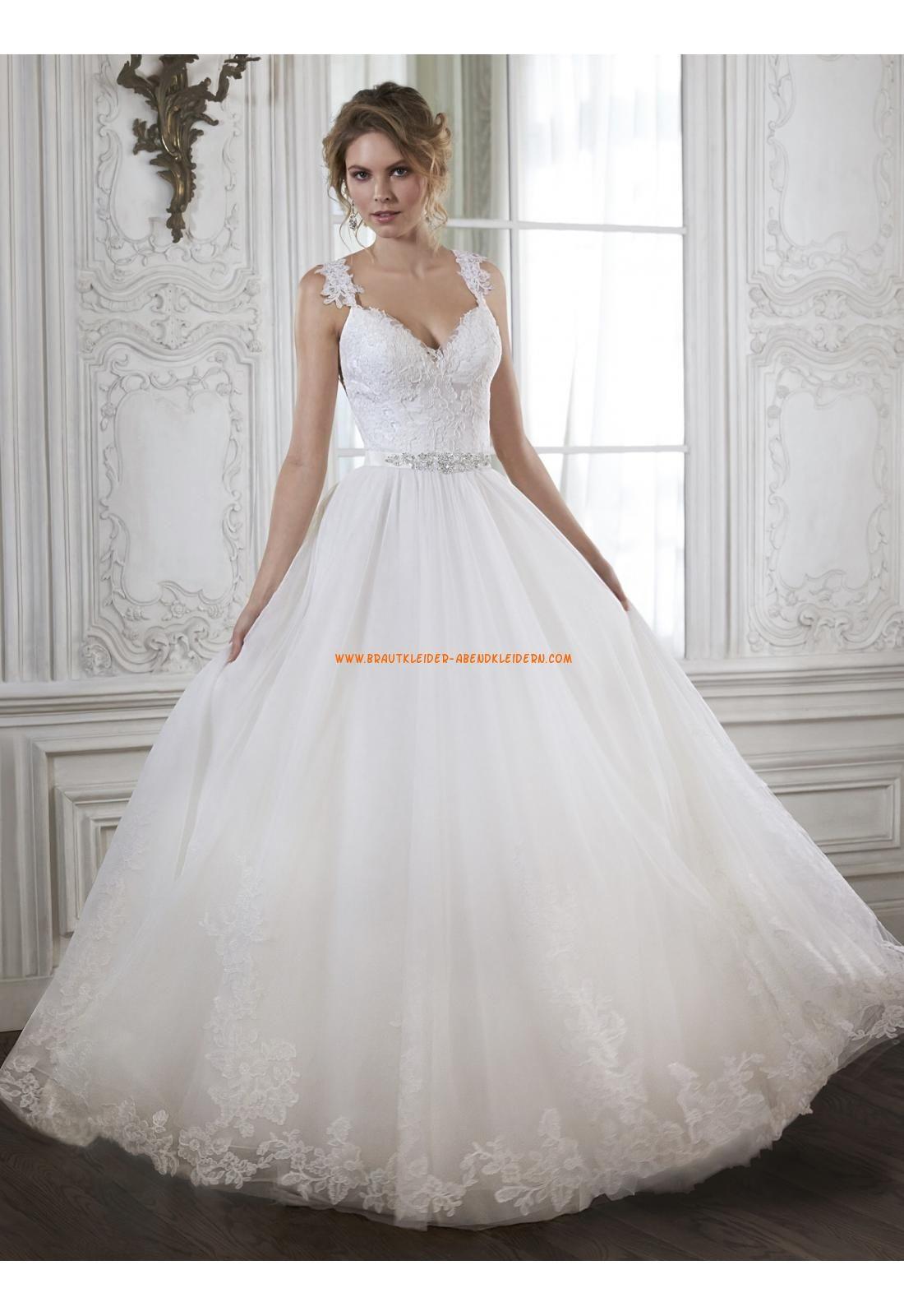 A-linie V-ausschnitt Romantische Brautkleider aus Tüll mit ...