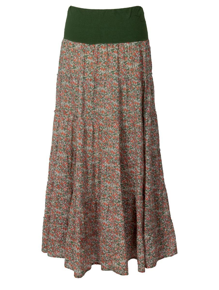 f7b7ce83242 Hippy Skirt Bohemian Gypsy Skirt Floral Print Maxi Skirt Fair trade by Folio  Gothic Hippy LE36