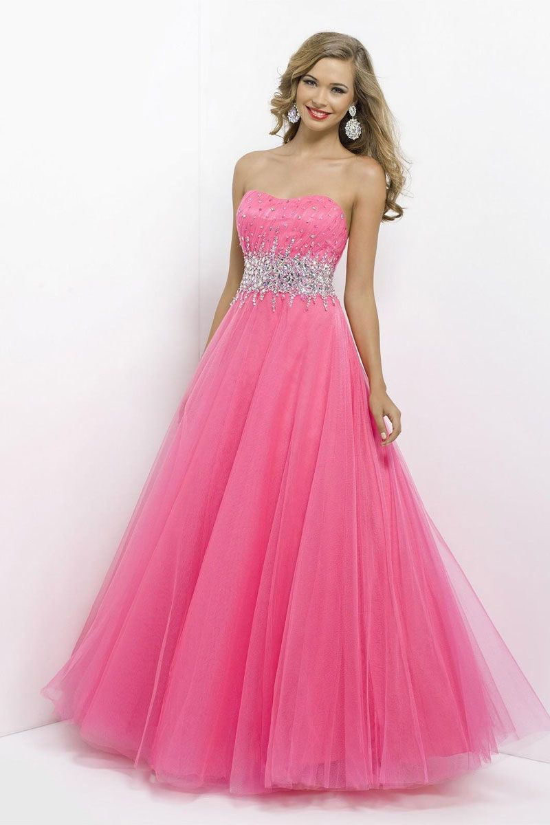 Princess Tulle Long Strapless Natural Waist Prom Dress picture 3 ...