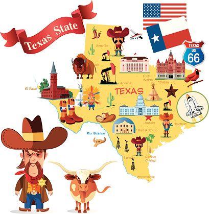 Cartoon Map Of Texas Credit Drmakkoy UK USA Australia - Cartoon us map
