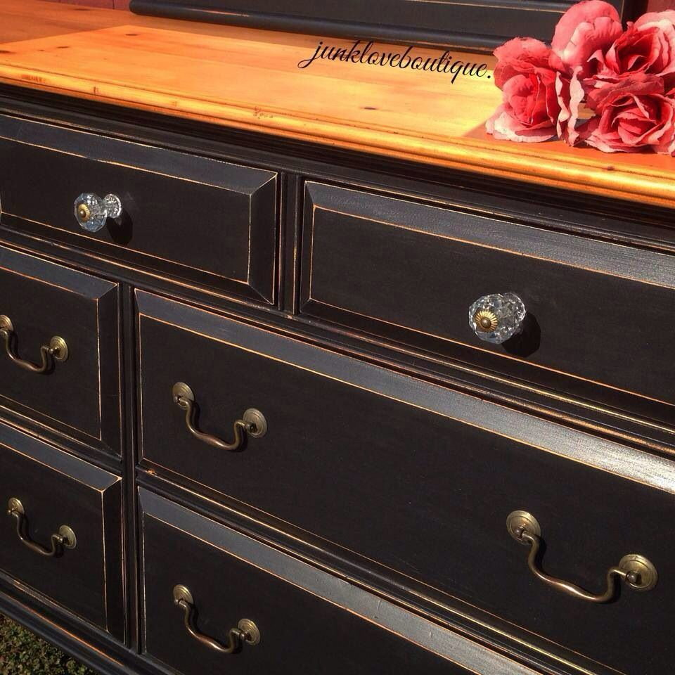 Junk Love Boutique Black Distressed Dresser With Knotty Pine Top And Gold Accents Distressed Dresser Black Distressed Dresser Dresser [ 960 x 960 Pixel ]