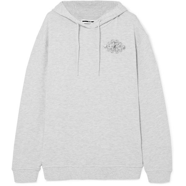 Embellished Cotton-blend Terry Hooded Top - Light gray Alexander McQueen Discount How Much Outlet Finishline For Sale Very Cheap Buy Cheap With Mastercard Cheap Sale Limited Edition OOwPc