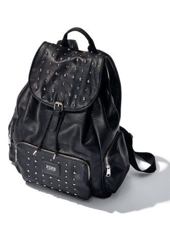 2b1187623f4b Amazon.com  Victorias Secret PINK MINI Backpack Purse Faux Black Leather  Studs  Beauty
