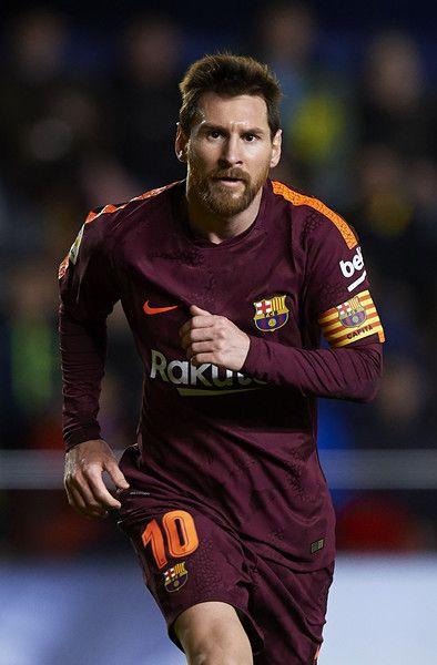 Lionel Messi of Barcelona reacts after scoring his team's second goal during the La Liga match between Villarreal and Barcelona at Estadio La Ceramica on December 10, 2017 in Villarreal, Spain.