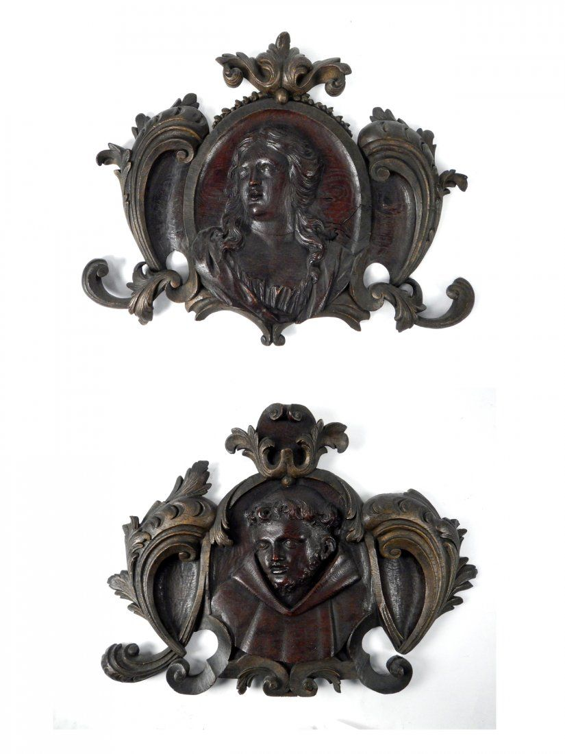 Pair of Carved Wood Wall Appliques : Lot 76