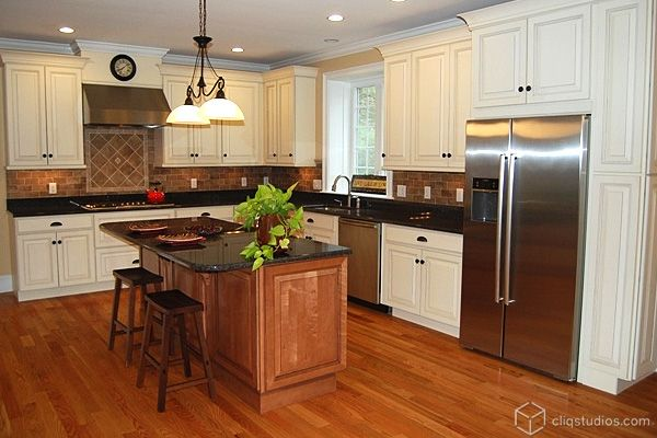 White Kitchen Cabinet Mixed With Brown Kitchen Cabinets
