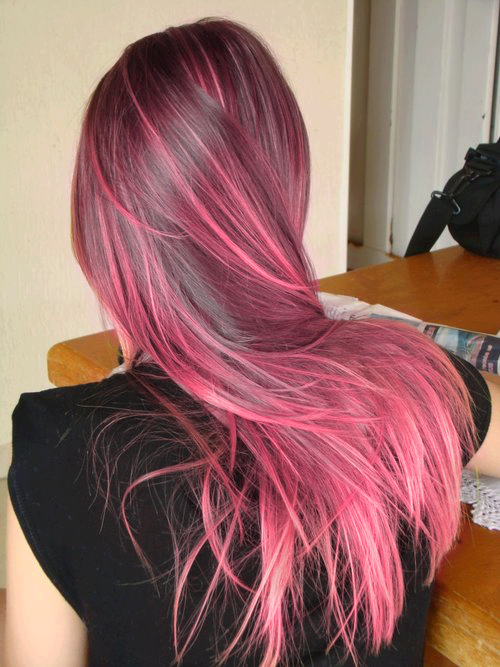 I love how this isn't chunks of pink strewn throughout the hair. It's more natural (or as natural as pink can get) in the placement of hair.