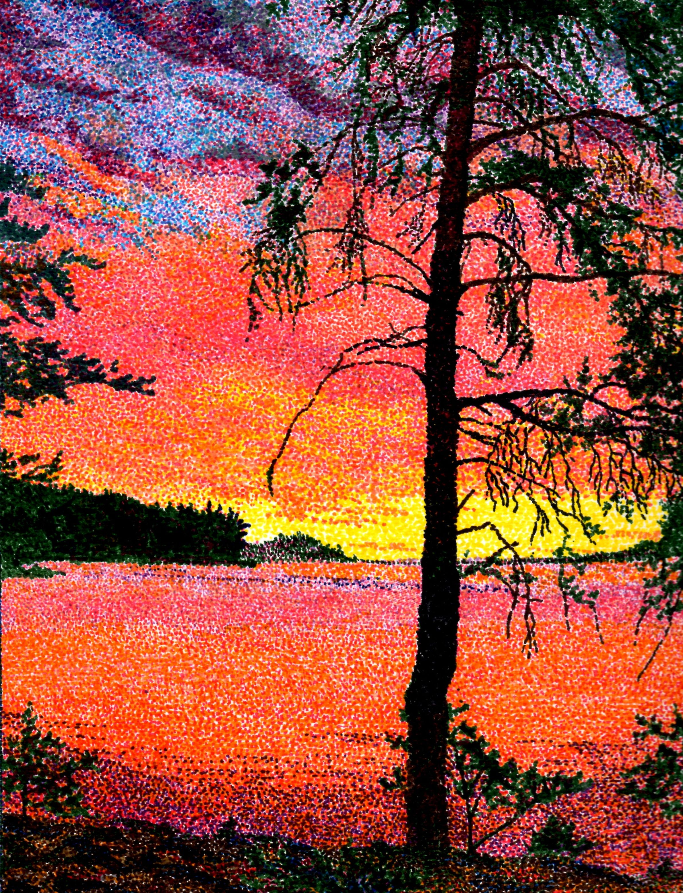 Draw Silhouette Of Trees With Sharpie Then Hve Students Pointillism The Sunset