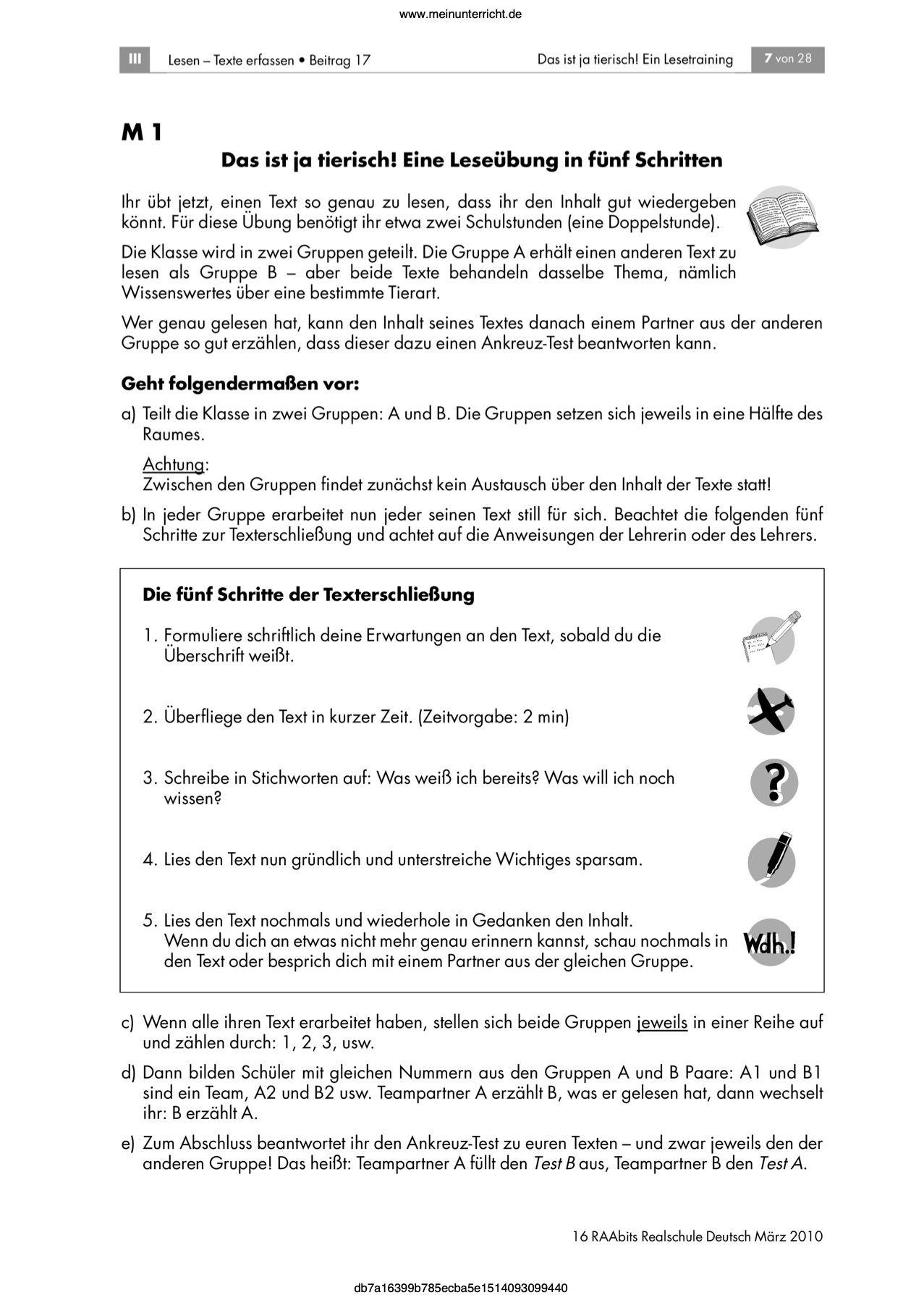 Lesekompetenz   Arbeitsblätter für Deutsch   meinUnterricht ...