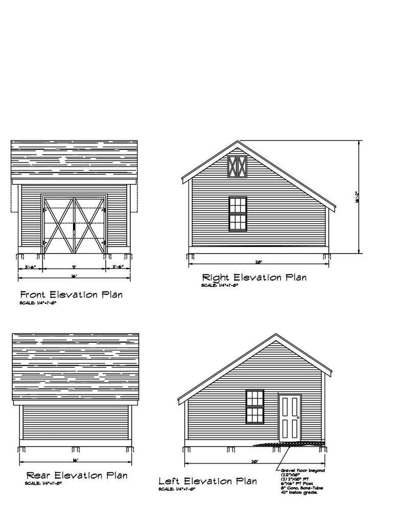 16 X20 Salt Box Pole Barn 20 X16 Salt Box Shed Garage Architectural Plans And Blueprints Plans On 11 X17 Barn House Plans Architecture Plan Building Plans
