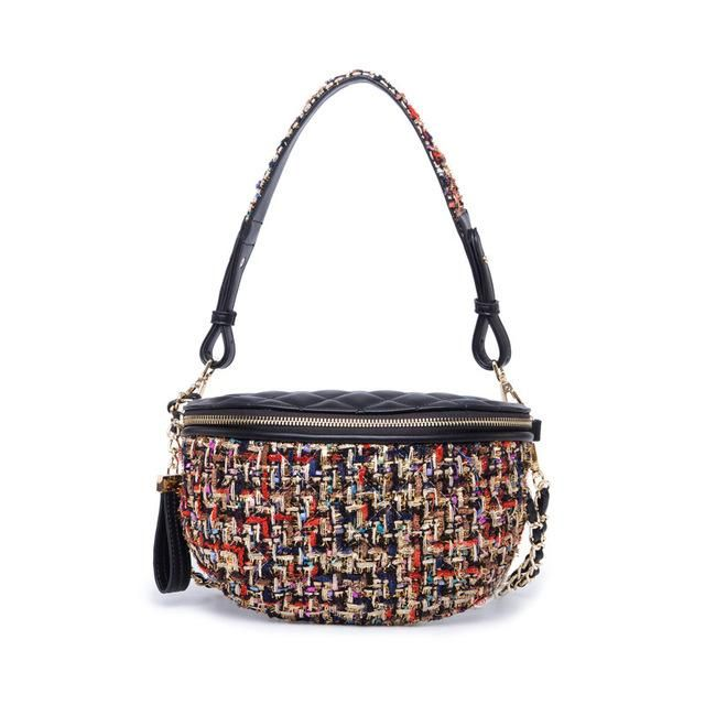 e50e08861fb7 luxury Waist bag fanny pack tweed chains belt bag women knitting handbag  brand Waist Pocket lady check plaid crossbody bags