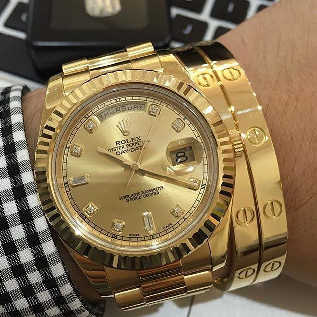 25dc0a62bb0 Stunning shot dripping in gold Rolex Day-Date and Cartier bracelets so hot!  by wristgamers