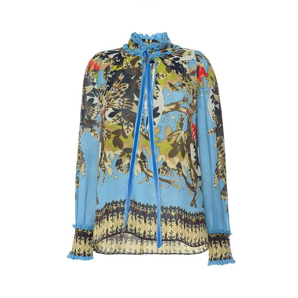 Roberto Cavalli Day Dream Printed Silk Georgette Shirt (15.189.365 IDR) ❤ liked on Polyvore featuring tops, long-sleeve shirt, blue shirt, ruffle top, mock neck shirt and tie shirt