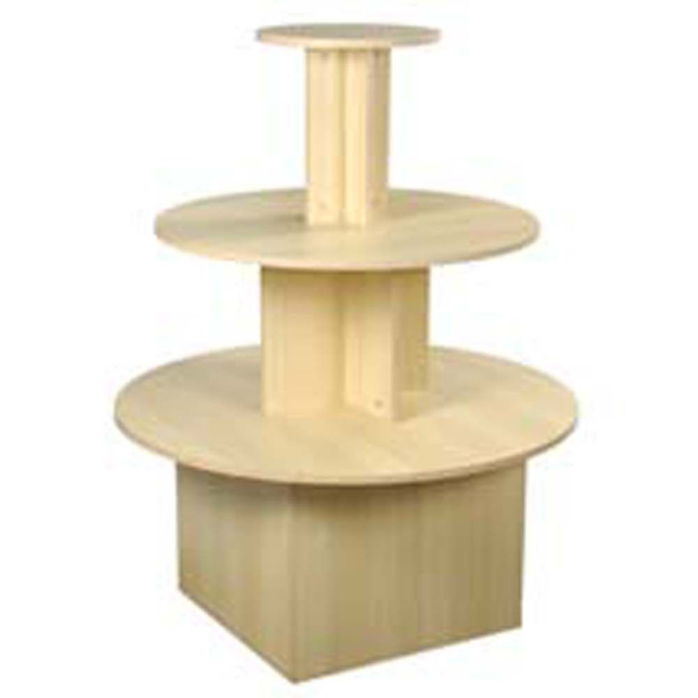 3 Tier Round Waterfall Table Retail Merchandise Display Multi Level Maple New Retail Display Merchandising Displays Display Shelves