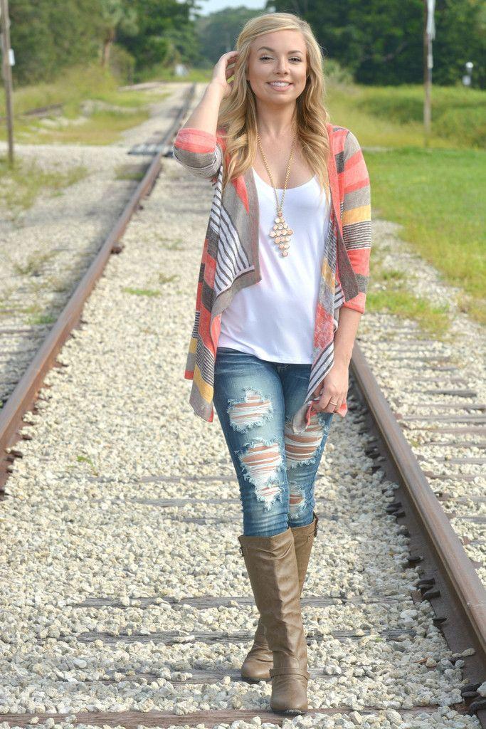 Girl Talk Striped Coral Cardigan - Shop Simply Me –boutique – www.SHOPSIMPLYME.com - #ishopsimplyme – Naples, FL