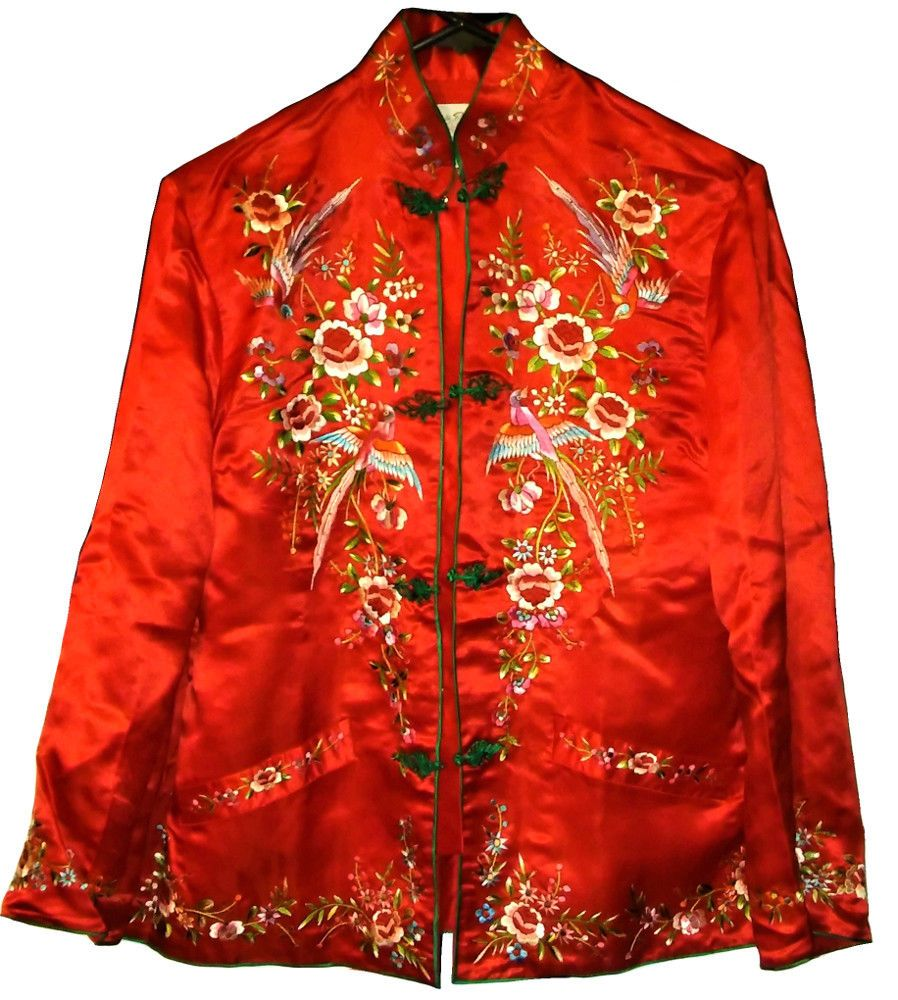 Antique Vintage Chinese Silk Embroidery Art Deco Robe Coat