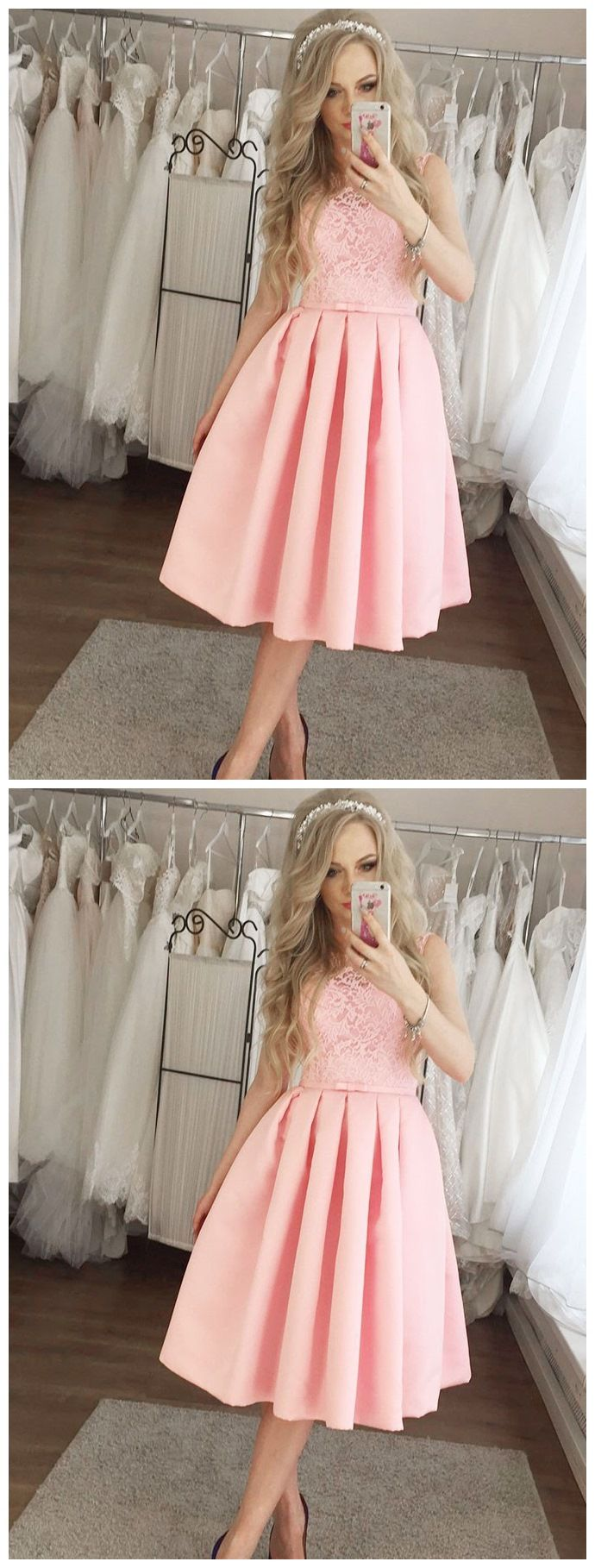 Mid length pink lace homecoming dresses modest wedding guest dress