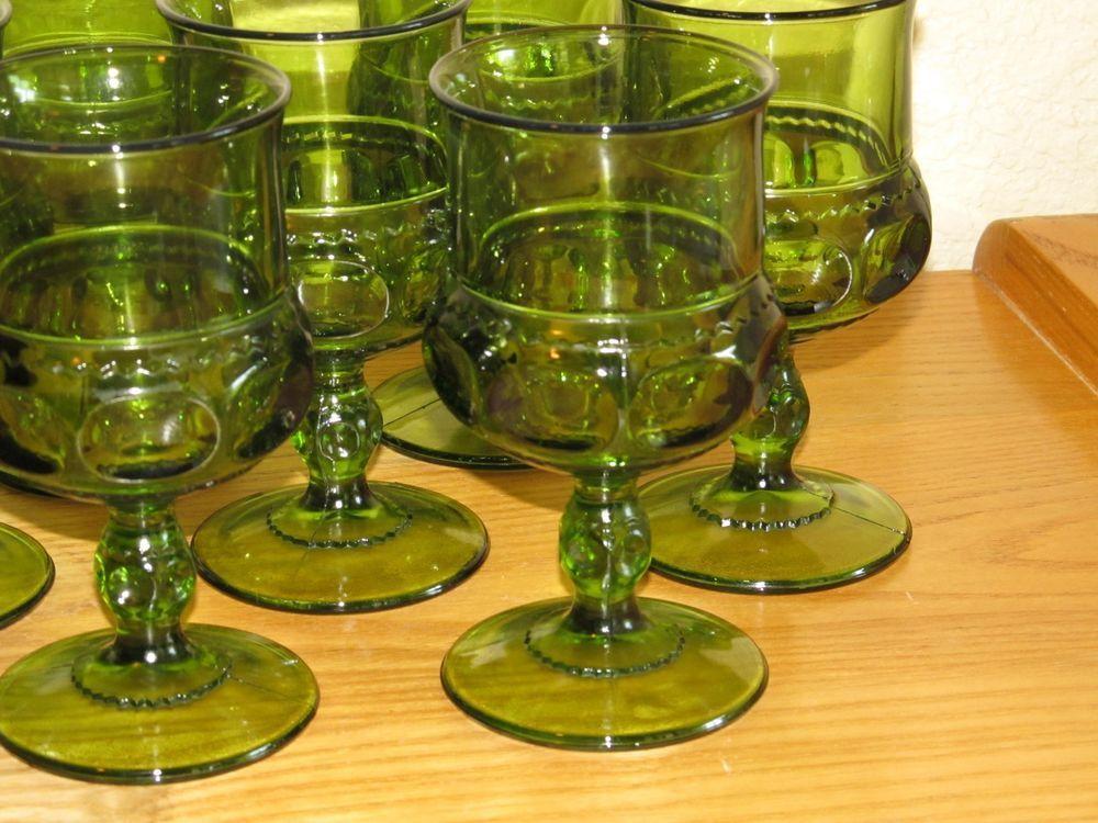 Set of (8) Retro Indiana Kings Crown Thumb Print Stemmed Green Wine/Water Goblet