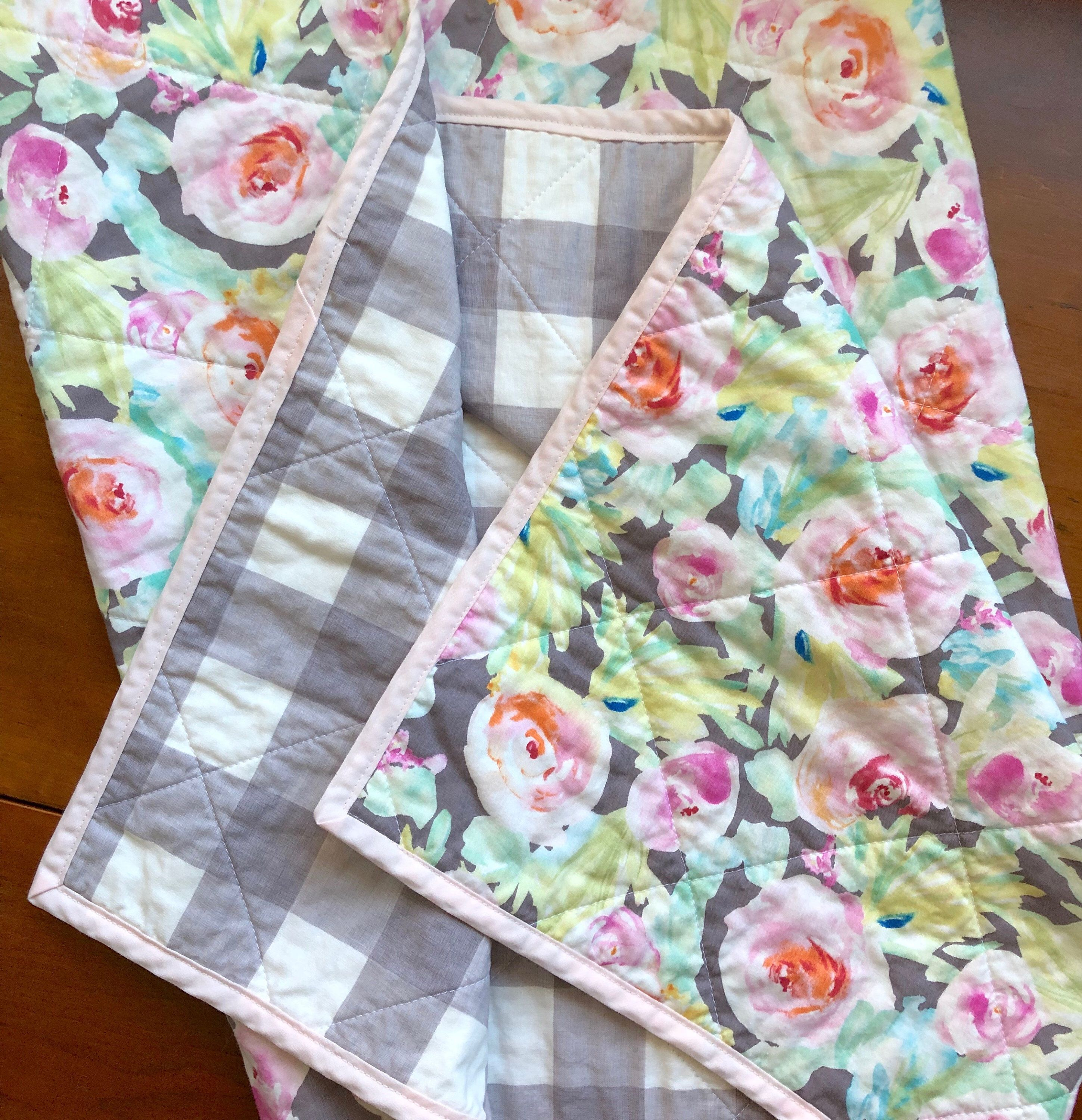 Girl Baby blanket quilt PInk floral baby blanket trim pink gingham check and minky dot