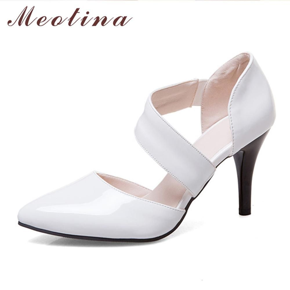 bc192a1ca Meotina Women Shoes Pumps High Heels Pointed Toe Thin High Heels Sexy Party  Wedding Shoes White Bridal Shoes Red Big Size 11 12