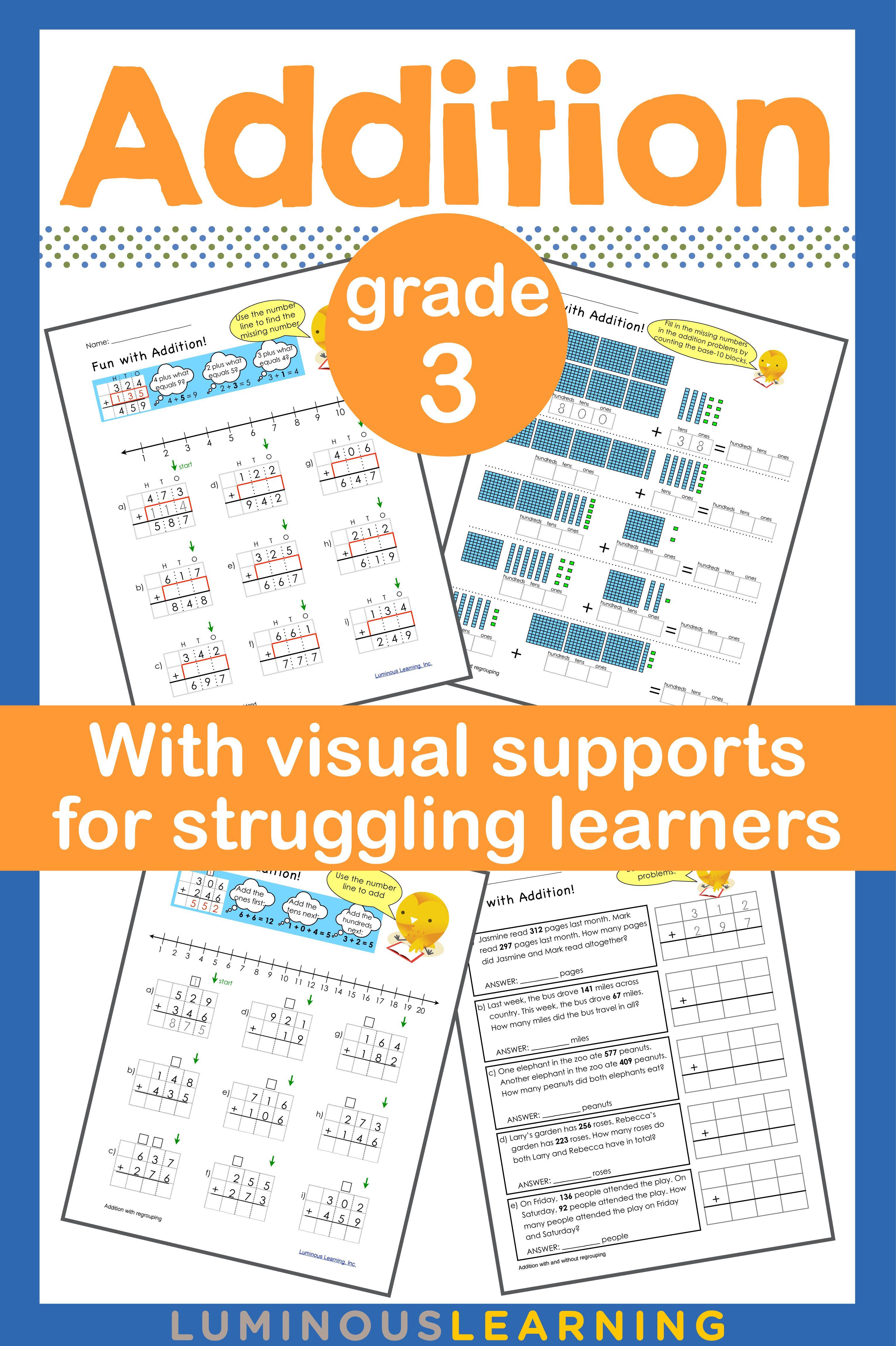 Grade 3 Addition Printable Workbook | Math skills, Maths and Students
