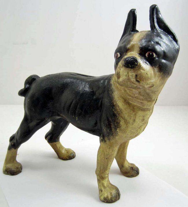 Antique Hubley Cast Iron Boston Terrier Doorstop - CAST IRON BOSTON TERRIER DOG LARGE BANK / DOORSTOP - On Door Stops