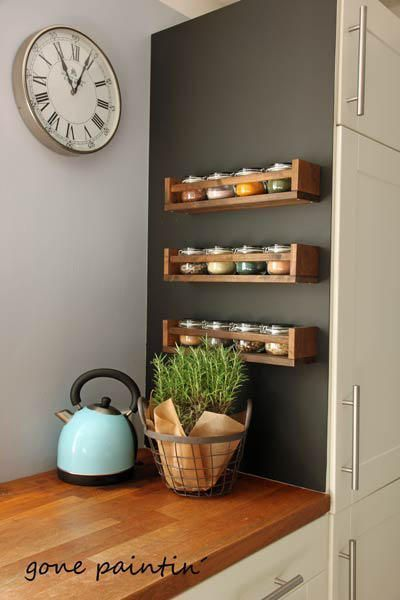 Blackboard paint for the wall and a few Ikea shelves make this kitchen corner an ec ... - My ...