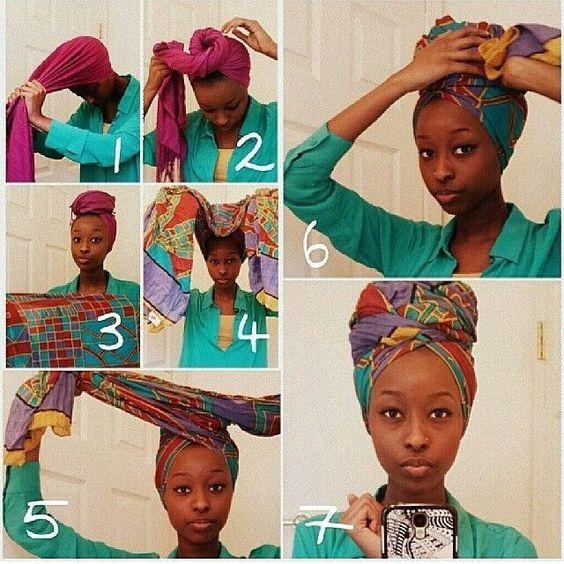 comment nouer attacher un foulard africain coiffure faire pinterest cheveux coiffure. Black Bedroom Furniture Sets. Home Design Ideas