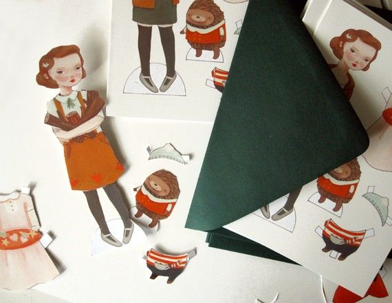 Holly and Ivan Paper Doll Holiday Cards by theblackapple on Etsy