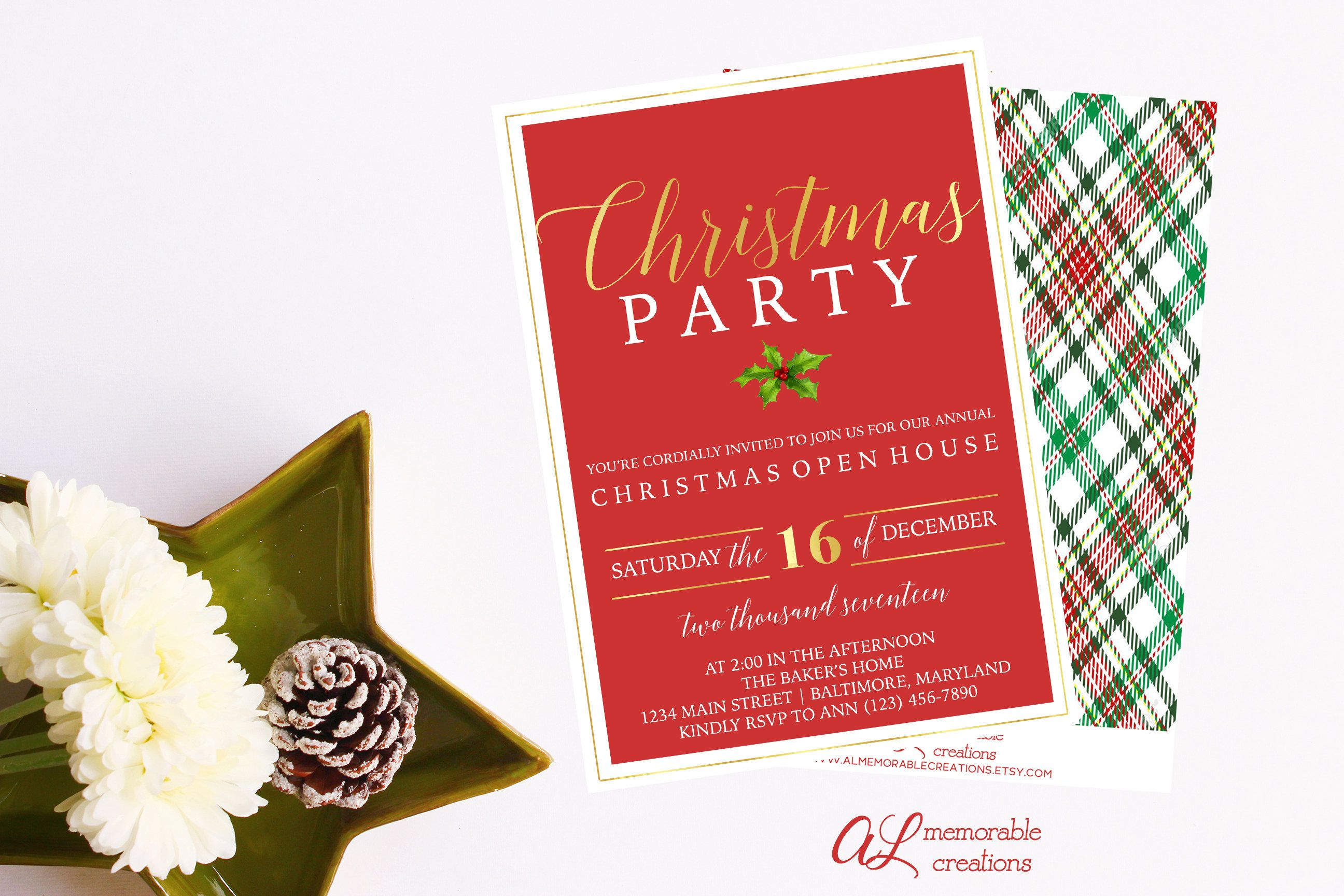 sample open house graduation party invitations%0A Modern Christmas Party Invitation  Christmas Invitation  Holiday Party   Christmas Open House  Red