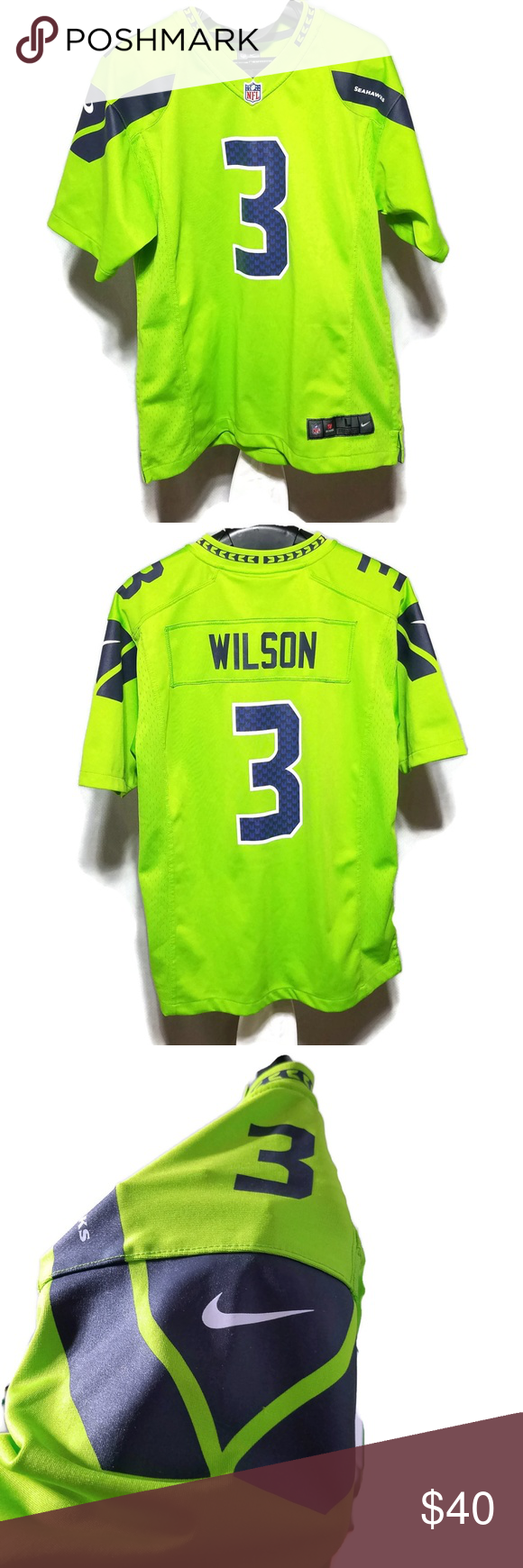 outlet store 23b39 eca74 Seahawks Wilson #3 Color Rush Green Jersey EUC Seattle ...