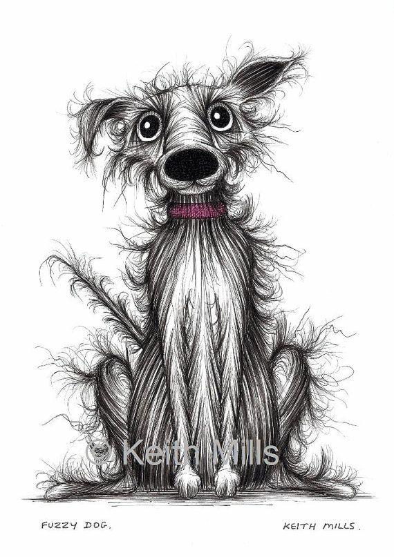 Fuzzy+dog+Print+download+Scruffy+frizzy+little+pet+by