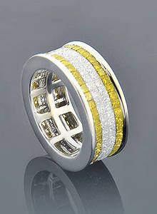 Mens Wedding Band With Yellow Canary And White Diamonds Mensweddingring