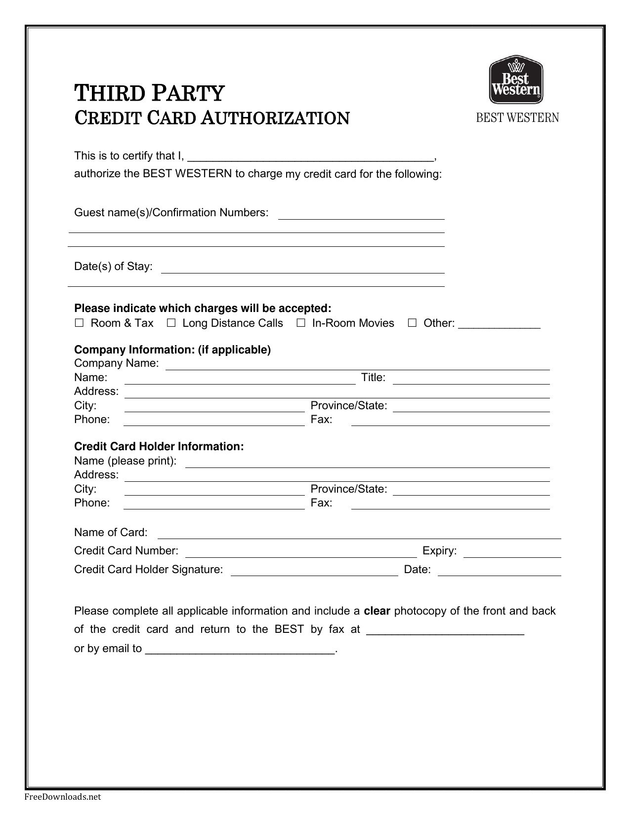 Credit Card Authorization Forms Cnbam With Authorization To